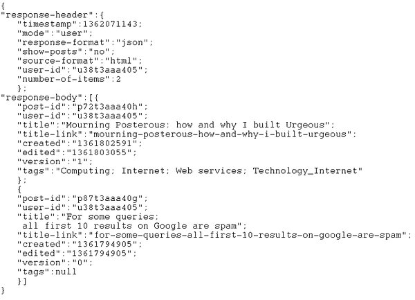 Example of JSON response